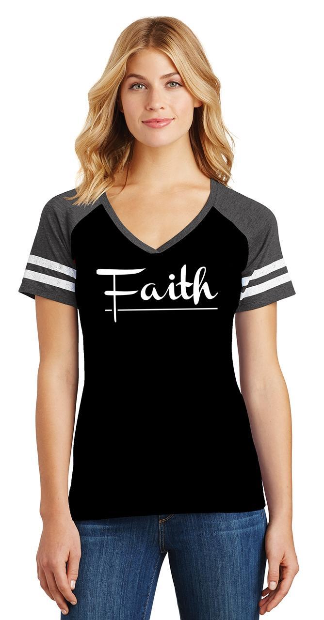 Ladies-Faith-Game-V-Neck-Tee-Religious-Christian-God-Shirt thumbnail 6