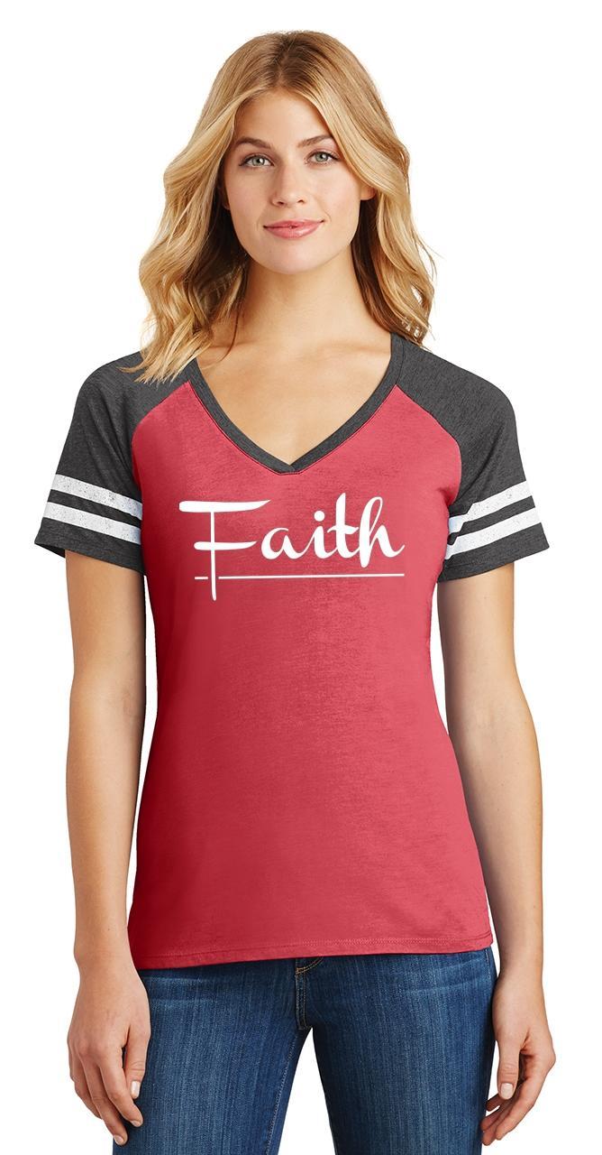 Ladies-Faith-Game-V-Neck-Tee-Religious-Christian-God-Shirt thumbnail 9