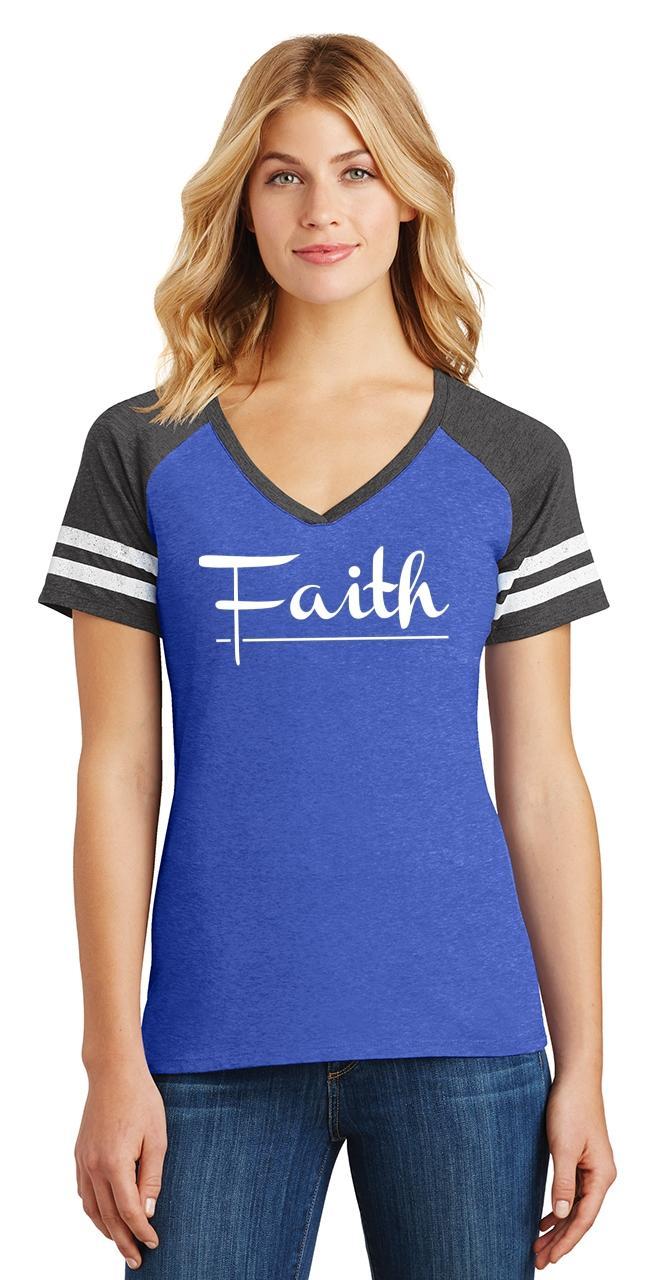Ladies-Faith-Game-V-Neck-Tee-Religious-Christian-God-Shirt thumbnail 12