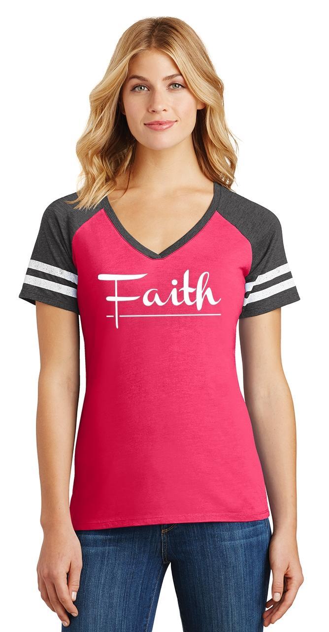 Ladies-Faith-Game-V-Neck-Tee-Religious-Christian-God-Shirt thumbnail 15