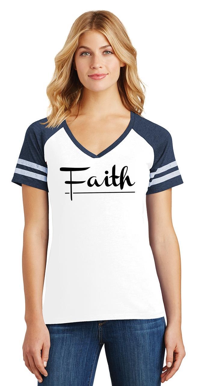 Ladies-Faith-Game-V-Neck-Tee-Religious-Christian-God-Shirt thumbnail 21