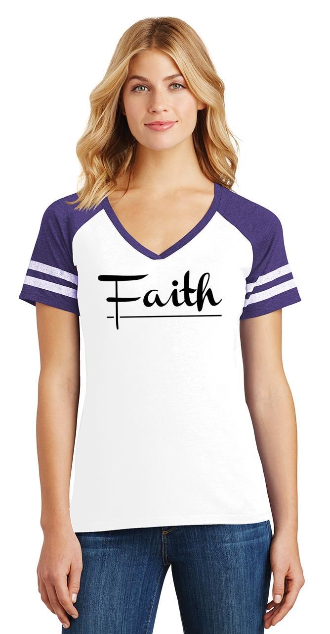 Ladies-Faith-Game-V-Neck-Tee-Religious-Christian-God-Shirt thumbnail 24