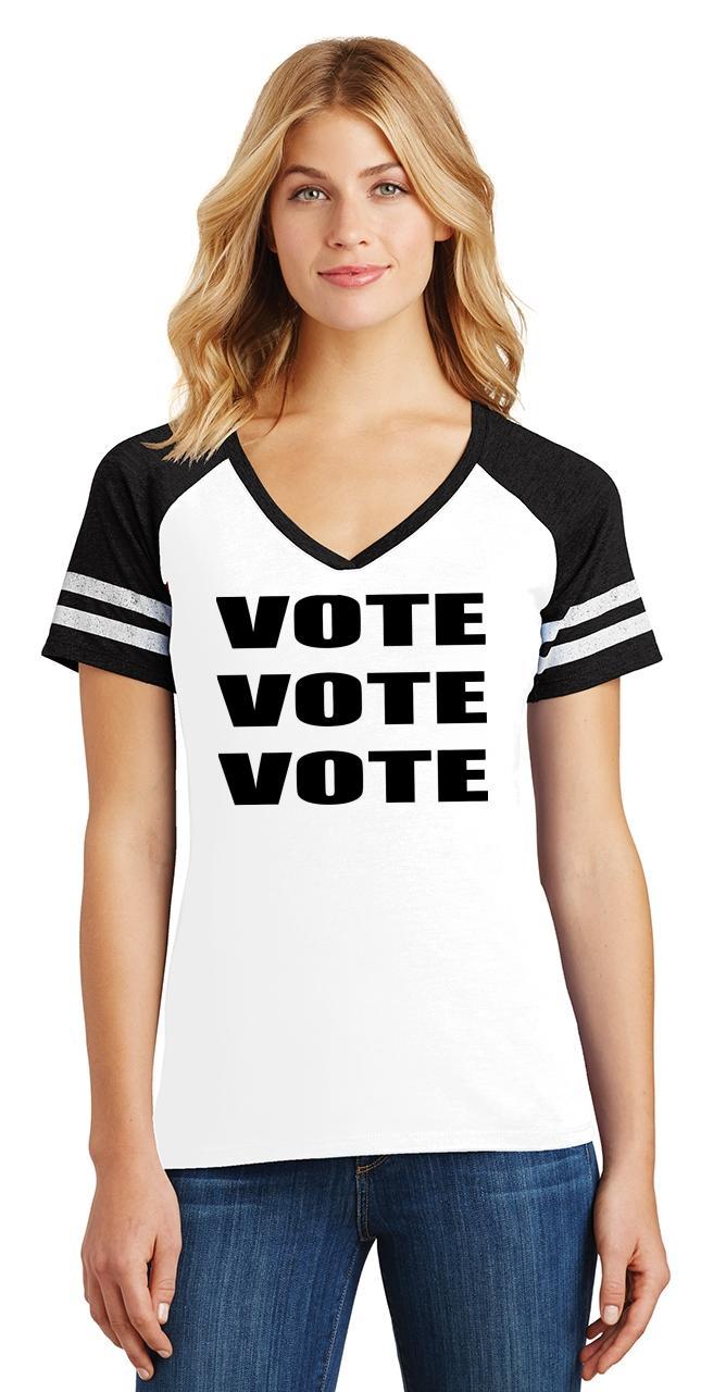 Ladies-Vote-Vote-Vote-Game-V-Neck-Tee-Elections-Politics-2020-President thumbnail 6