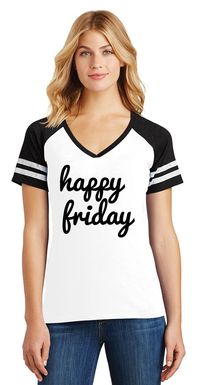 thumbnail 6 - Ladies Happy Friday Game V-Neck Tee Weekend Party