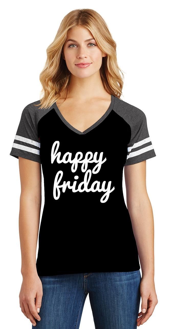 thumbnail 10 - Ladies Happy Friday Game V-Neck Tee Weekend Party