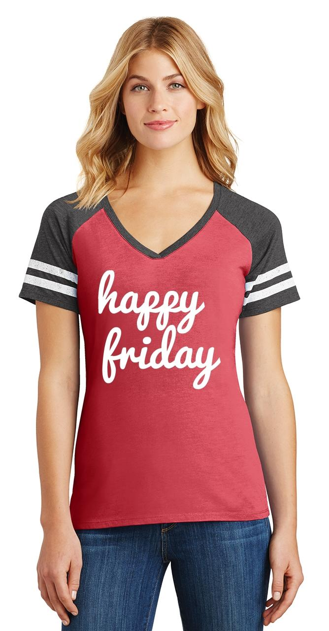 thumbnail 14 - Ladies Happy Friday Game V-Neck Tee Weekend Party
