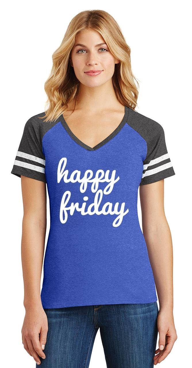 thumbnail 18 - Ladies Happy Friday Game V-Neck Tee Weekend Party