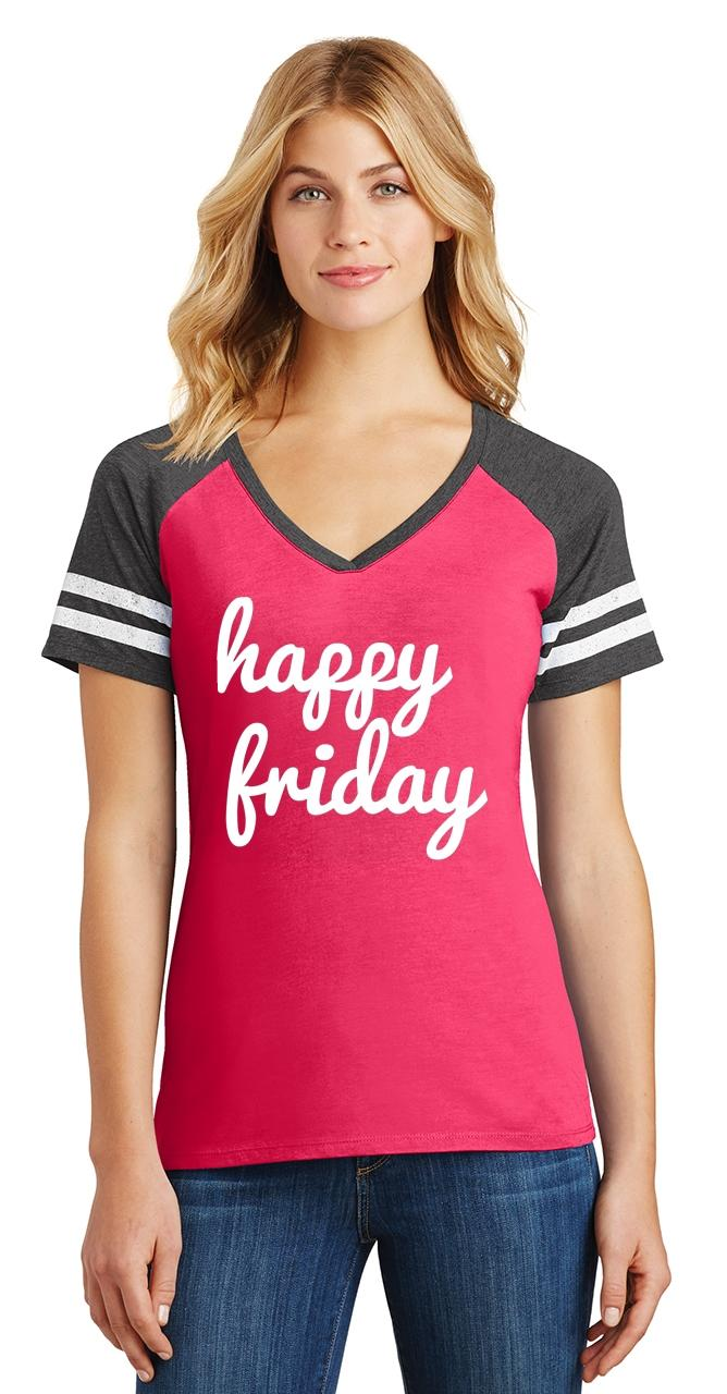 thumbnail 22 - Ladies Happy Friday Game V-Neck Tee Weekend Party