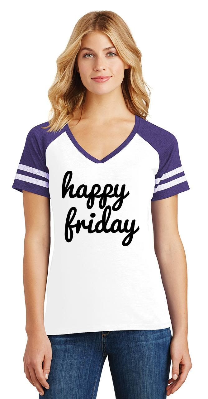 thumbnail 30 - Ladies Happy Friday Game V-Neck Tee Weekend Party