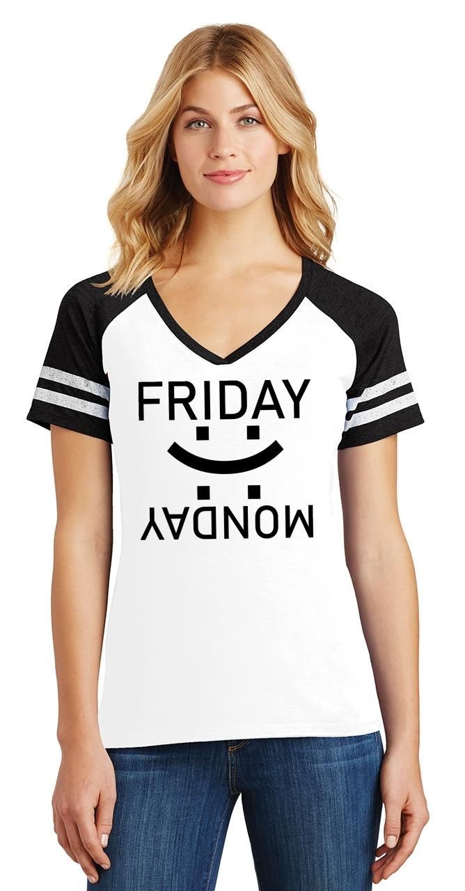 thumbnail 6 - Ladies Happy Friday Sad Monday Game V-Neck Tee Weekend