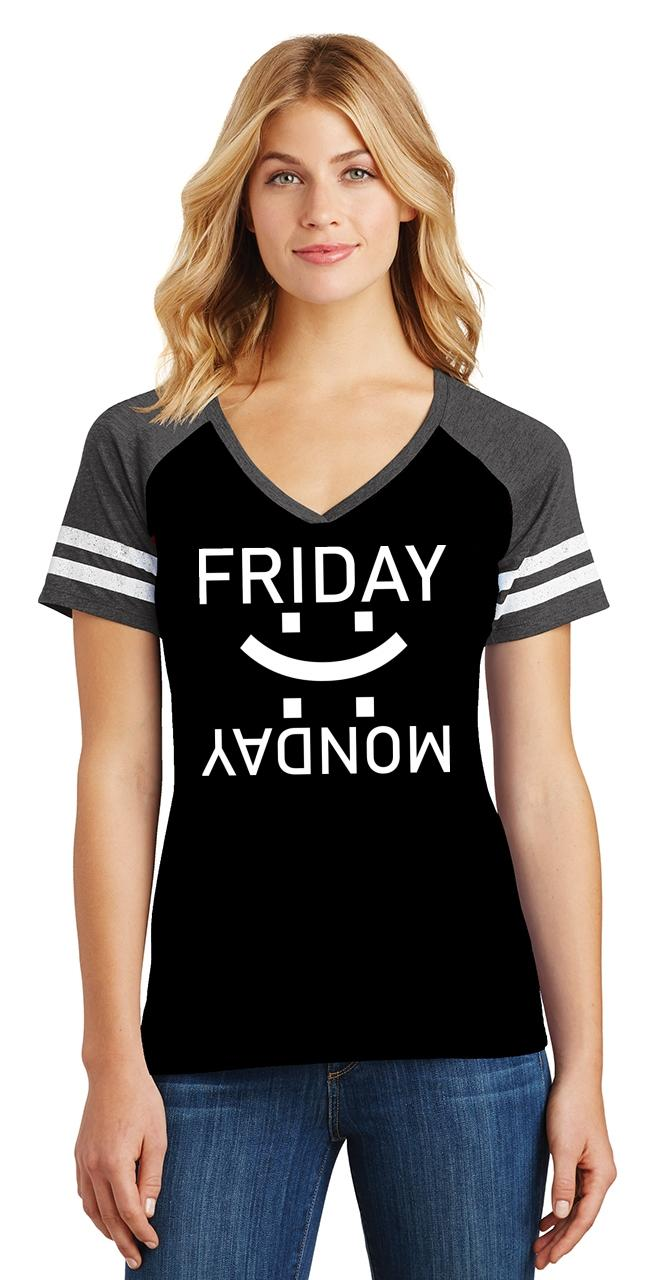 thumbnail 10 - Ladies Happy Friday Sad Monday Game V-Neck Tee Weekend