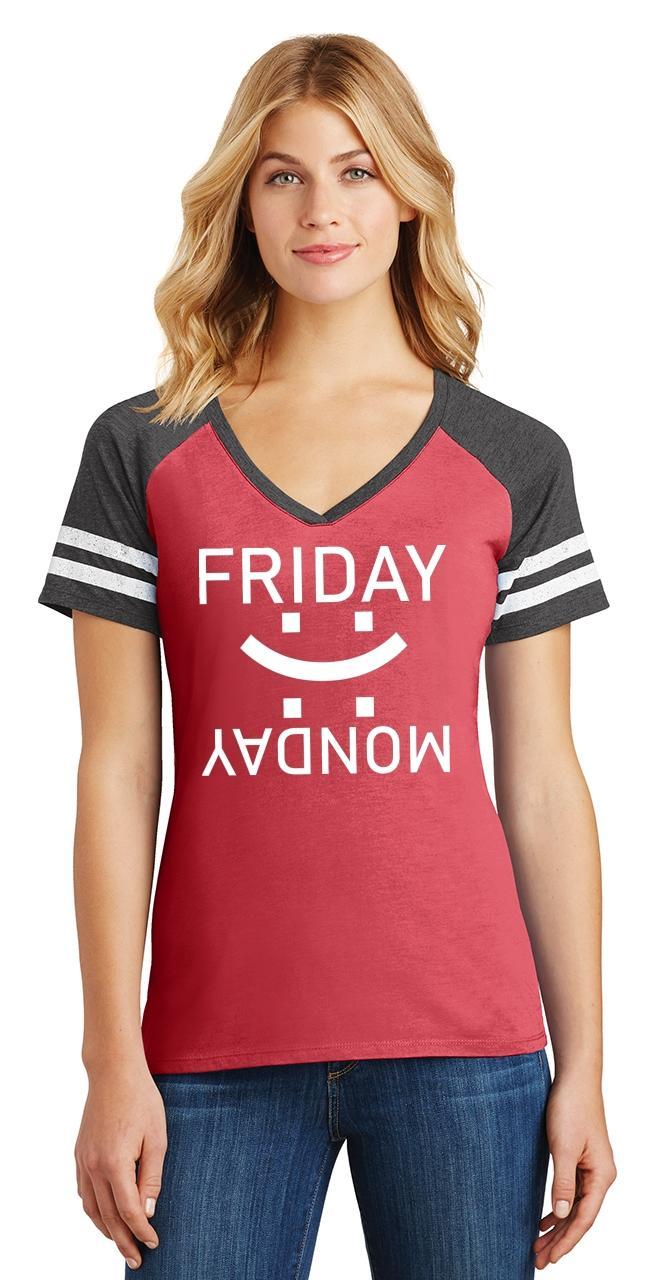 thumbnail 14 - Ladies Happy Friday Sad Monday Game V-Neck Tee Weekend
