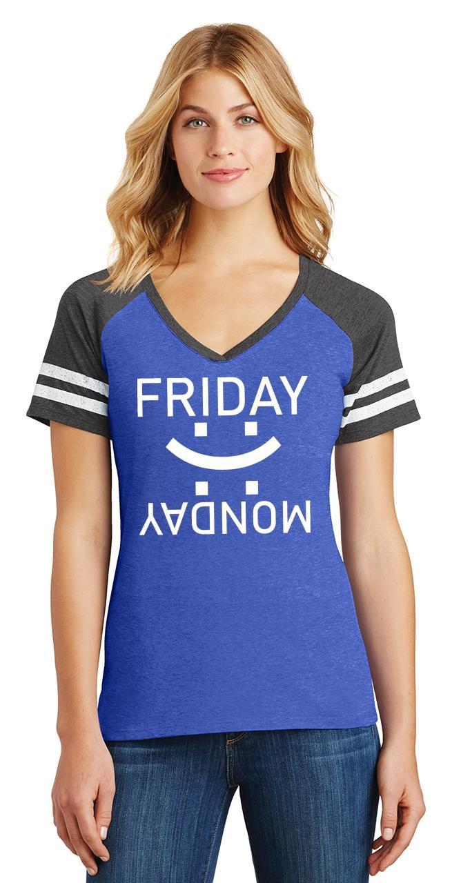 thumbnail 18 - Ladies Happy Friday Sad Monday Game V-Neck Tee Weekend