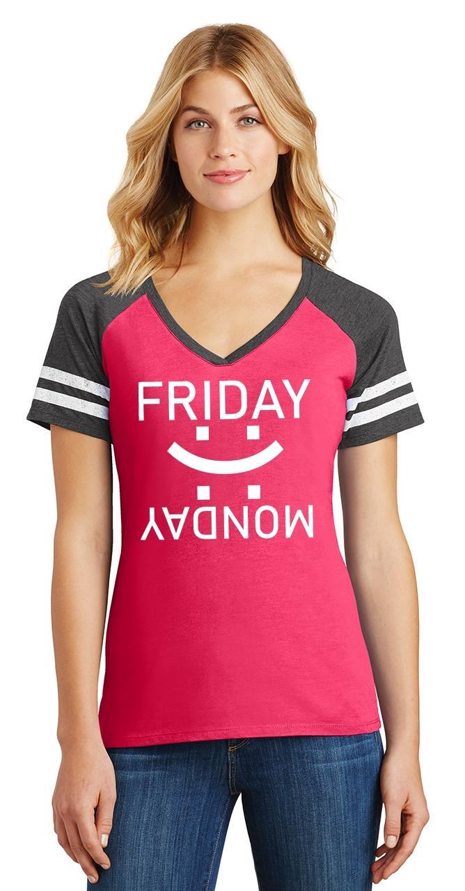 thumbnail 22 - Ladies Happy Friday Sad Monday Game V-Neck Tee Weekend