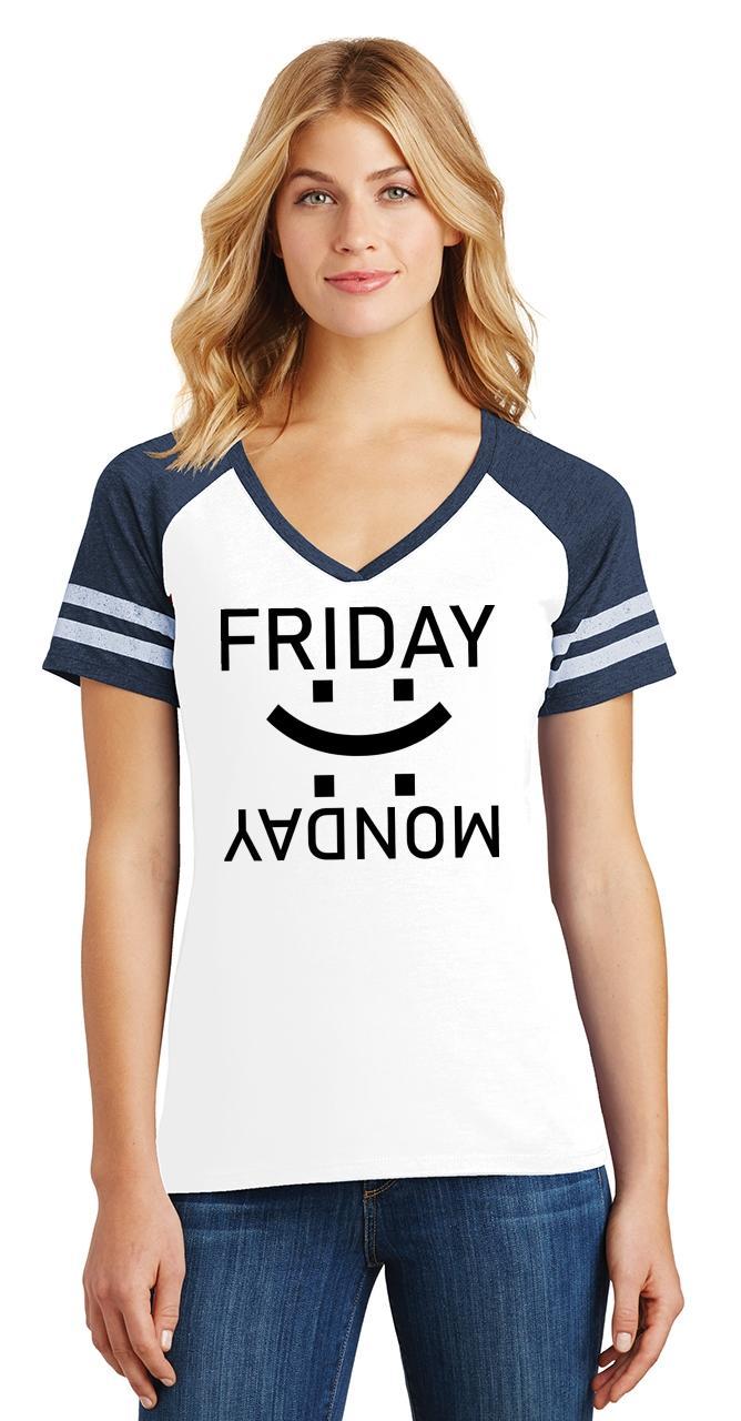 thumbnail 26 - Ladies Happy Friday Sad Monday Game V-Neck Tee Weekend