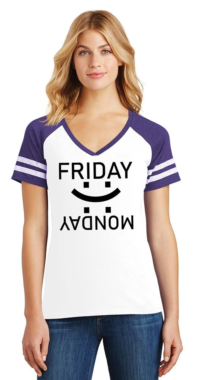 thumbnail 30 - Ladies Happy Friday Sad Monday Game V-Neck Tee Weekend