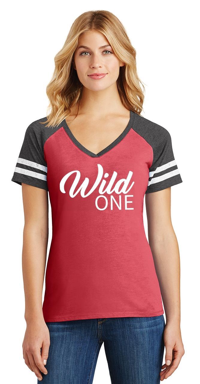 Ladies-Wild-One-Game-V-Neck-Tee-Country-Free thumbnail 14