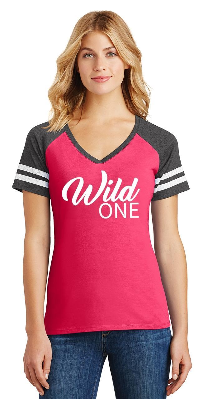 Ladies-Wild-One-Game-V-Neck-Tee-Country-Free thumbnail 22