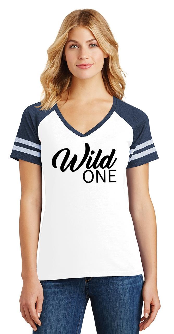 Ladies-Wild-One-Game-V-Neck-Tee-Country-Free thumbnail 26