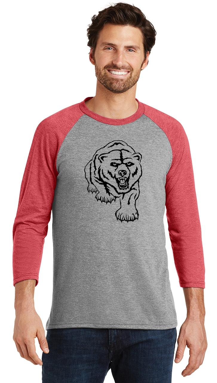 Mens-Bear-Graphic-Tee-3-4-Triblend-Camping-Animal miniatura 18