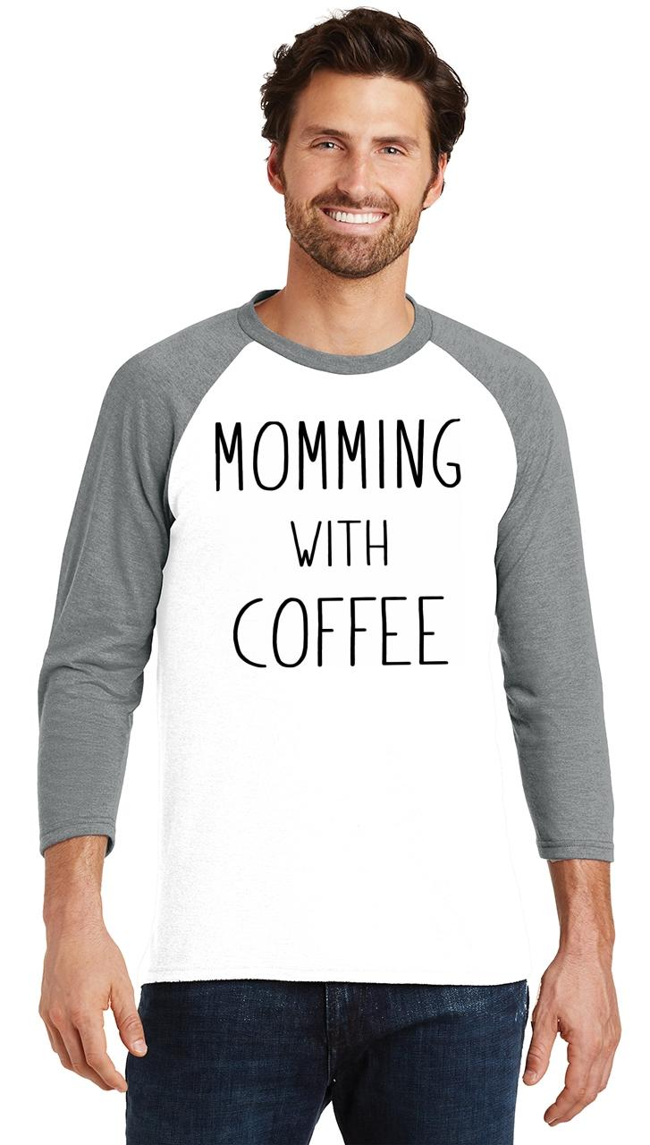 Mens-Momming-With-Coffee-3-4-Triblend-Mother-Gift-Shirt miniatura 9