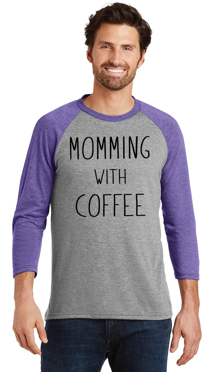 Mens-Momming-With-Coffee-3-4-Triblend-Mother-Gift-Shirt miniatura 15