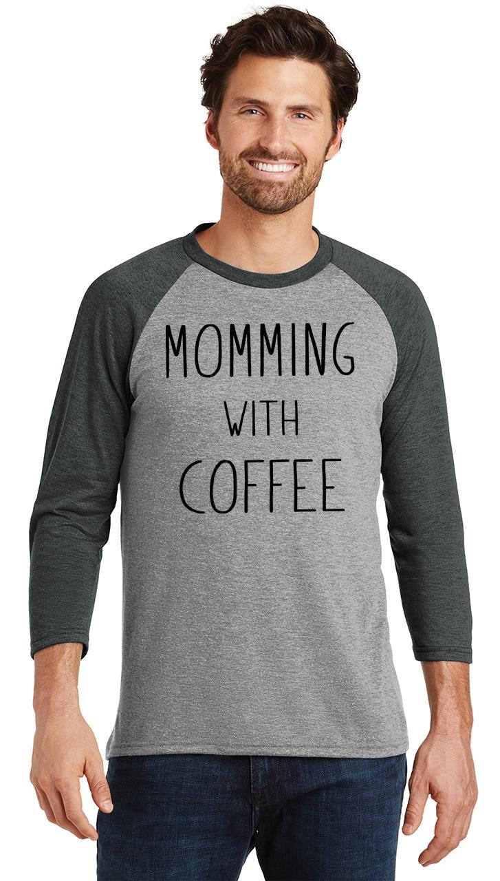 Mens-Momming-With-Coffee-3-4-Triblend-Mother-Gift-Shirt miniatura 6