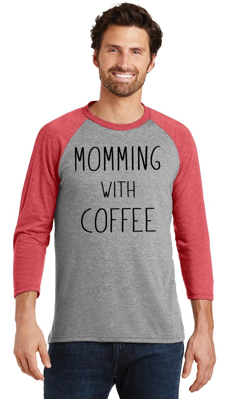 Mens-Momming-With-Coffee-3-4-Triblend-Mother-Gift-Shirt miniatura 18