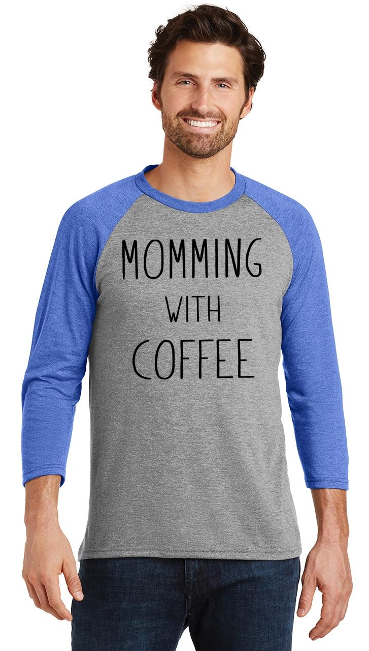 Mens-Momming-With-Coffee-3-4-Triblend-Mother-Gift-Shirt miniatura 21