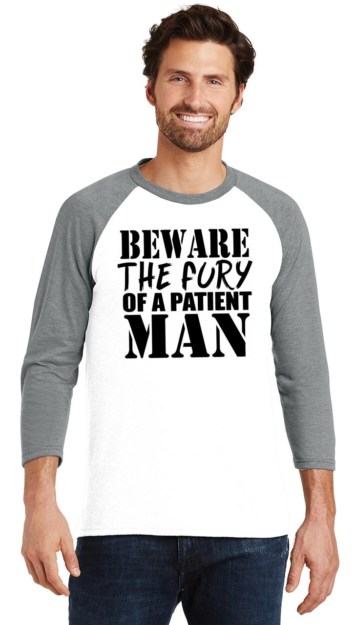 Mens-Beware-Fury-Of-Patient-Man-3-4-Triblend-Anger-Quotes miniatura 6