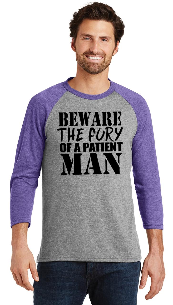 Mens-Beware-Fury-Of-Patient-Man-3-4-Triblend-Anger-Quotes miniatura 10