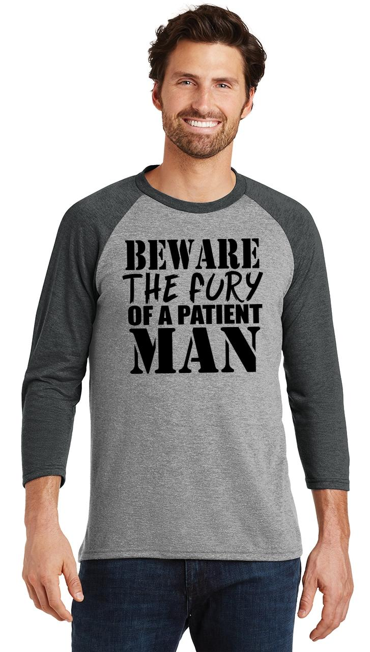 Mens-Beware-Fury-Of-Patient-Man-3-4-Triblend-Anger-Quotes miniatura 14