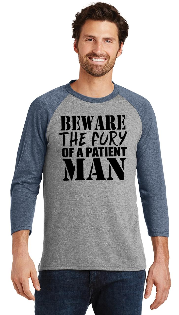 Mens-Beware-Fury-Of-Patient-Man-3-4-Triblend-Anger-Quotes miniatura 18