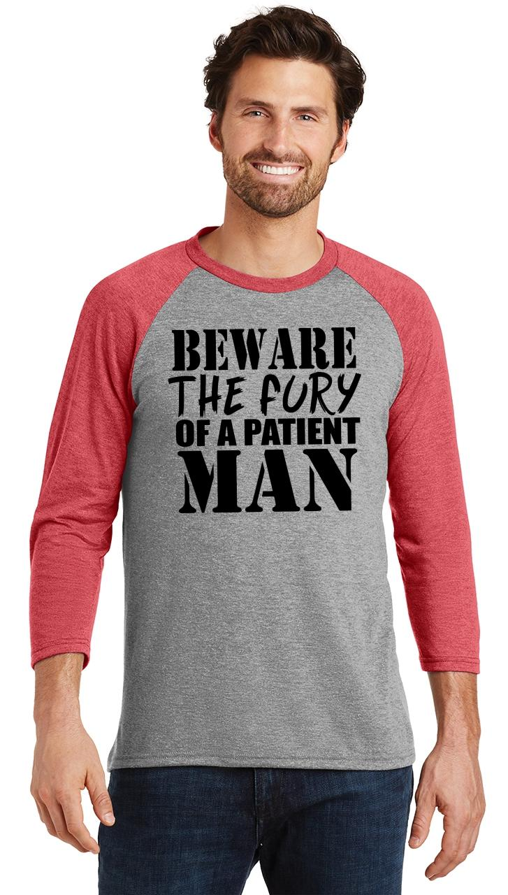 Mens-Beware-Fury-Of-Patient-Man-3-4-Triblend-Anger-Quotes miniatura 22