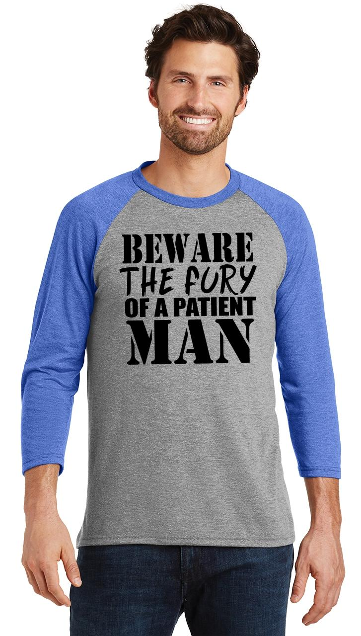 Mens-Beware-Fury-Of-Patient-Man-3-4-Triblend-Anger-Quotes miniatura 26