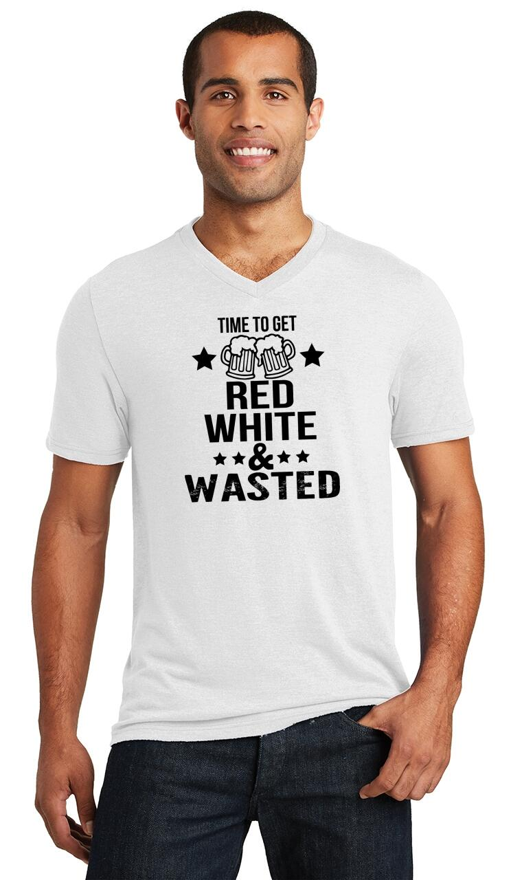 671b49a761 Mens Time Get Red White & Wasted Funny July 4th Party Patriotic USA ...