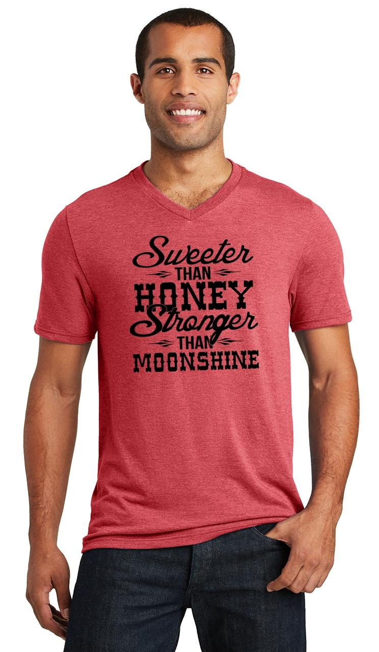 9168221be88514 Mens Sweeter Than Honey Stronger Than Moonshine Country Redneck Tee ...