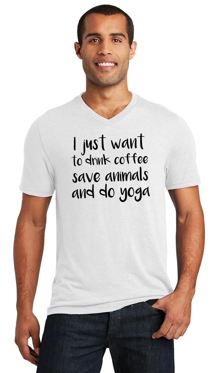 Mens-I-Just-Want-Drink-Coffee-Save-Animals-and-Do-Yoga-Triblend-V-Neck-Workout miniatura 18