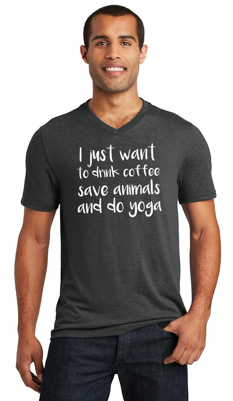 Mens-I-Just-Want-Drink-Coffee-Save-Animals-and-Do-Yoga-Triblend-V-Neck-Workout miniatura 6