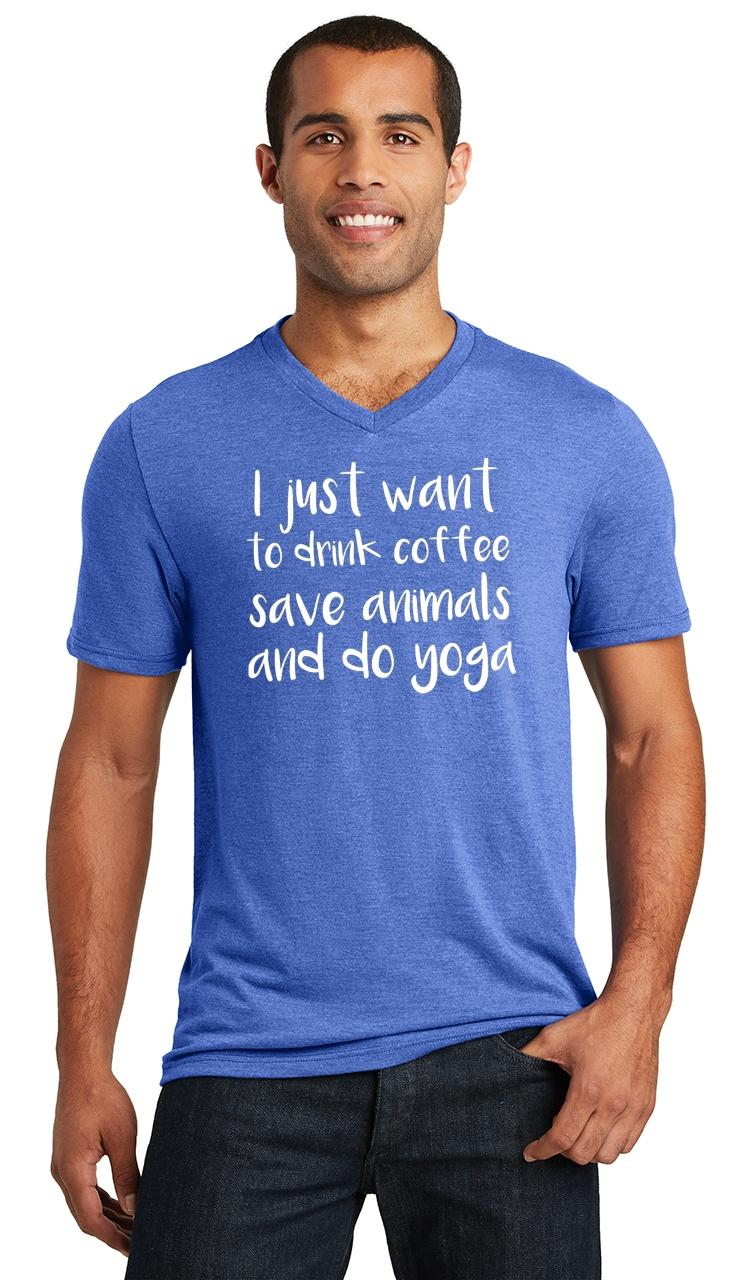 Mens-I-Just-Want-Drink-Coffee-Save-Animals-and-Do-Yoga-Triblend-V-Neck-Workout miniatura 15