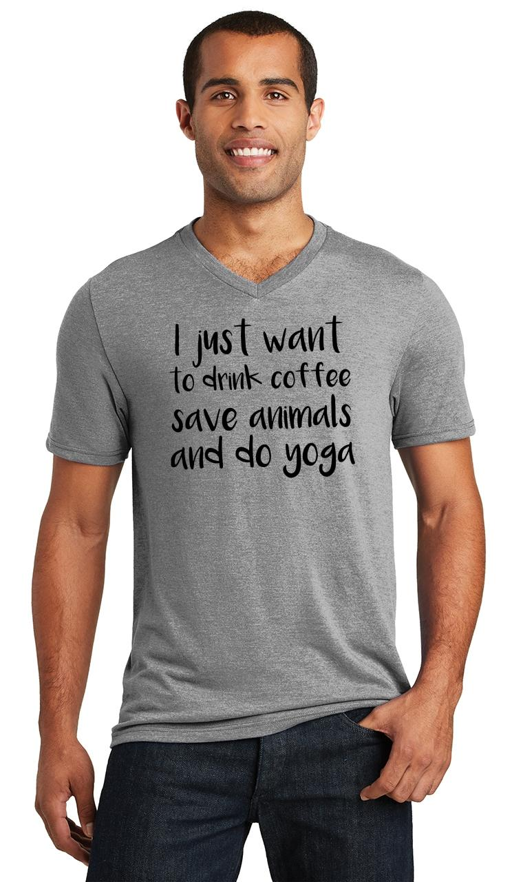 Mens-I-Just-Want-Drink-Coffee-Save-Animals-and-Do-Yoga-Triblend-V-Neck-Workout miniatura 9
