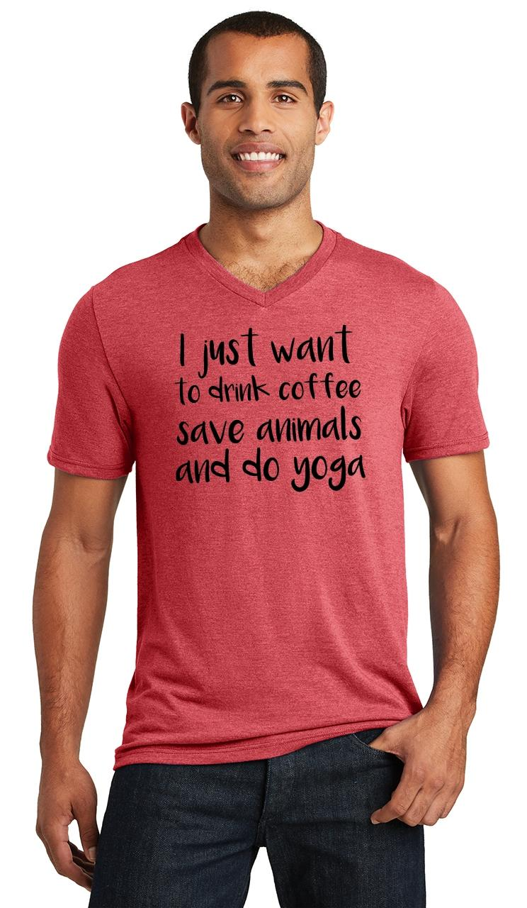 Mens-I-Just-Want-Drink-Coffee-Save-Animals-and-Do-Yoga-Triblend-V-Neck-Workout miniatura 12