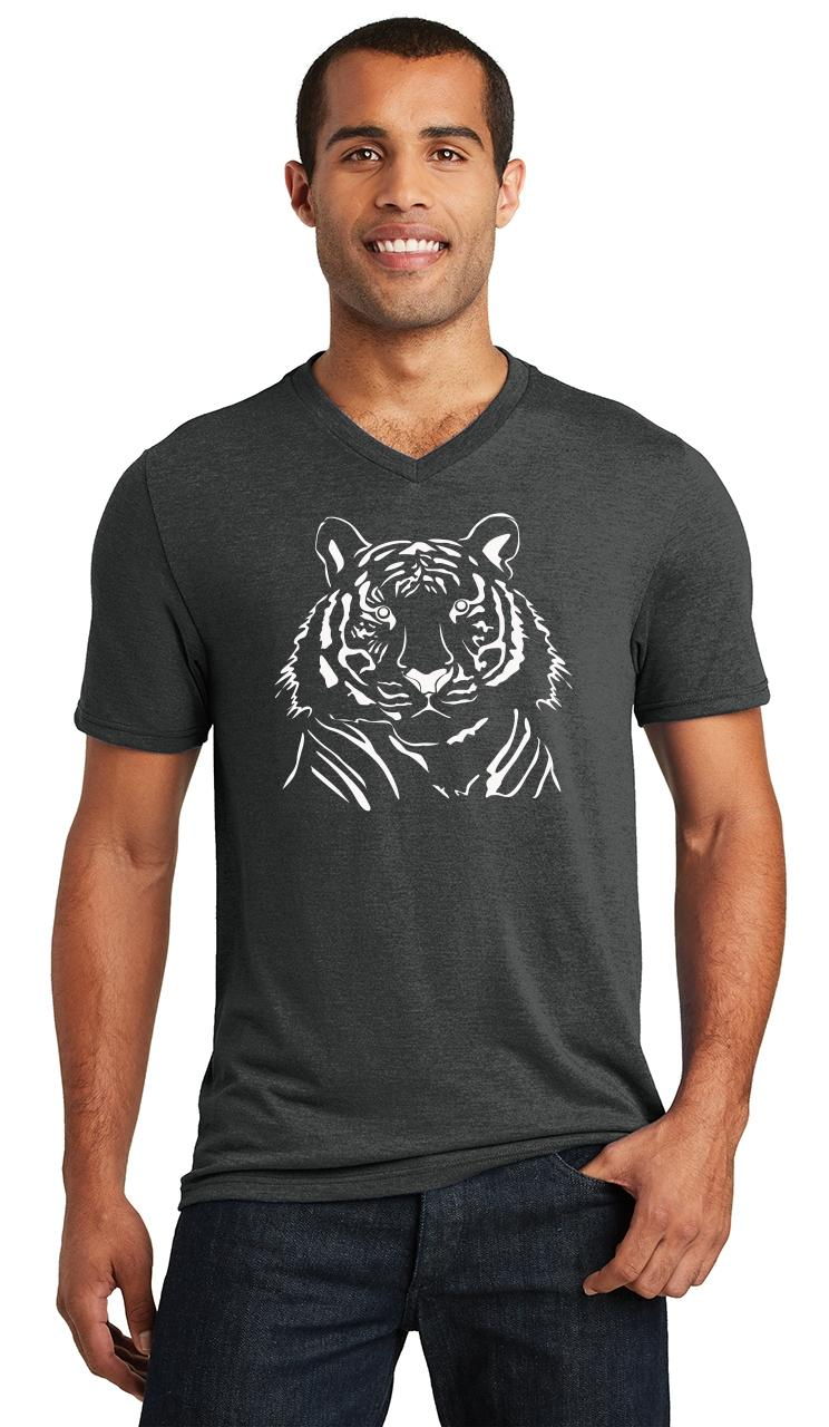 Mens-Tiger-Graphic-Triblend-V-Neck-Animal miniatura 6