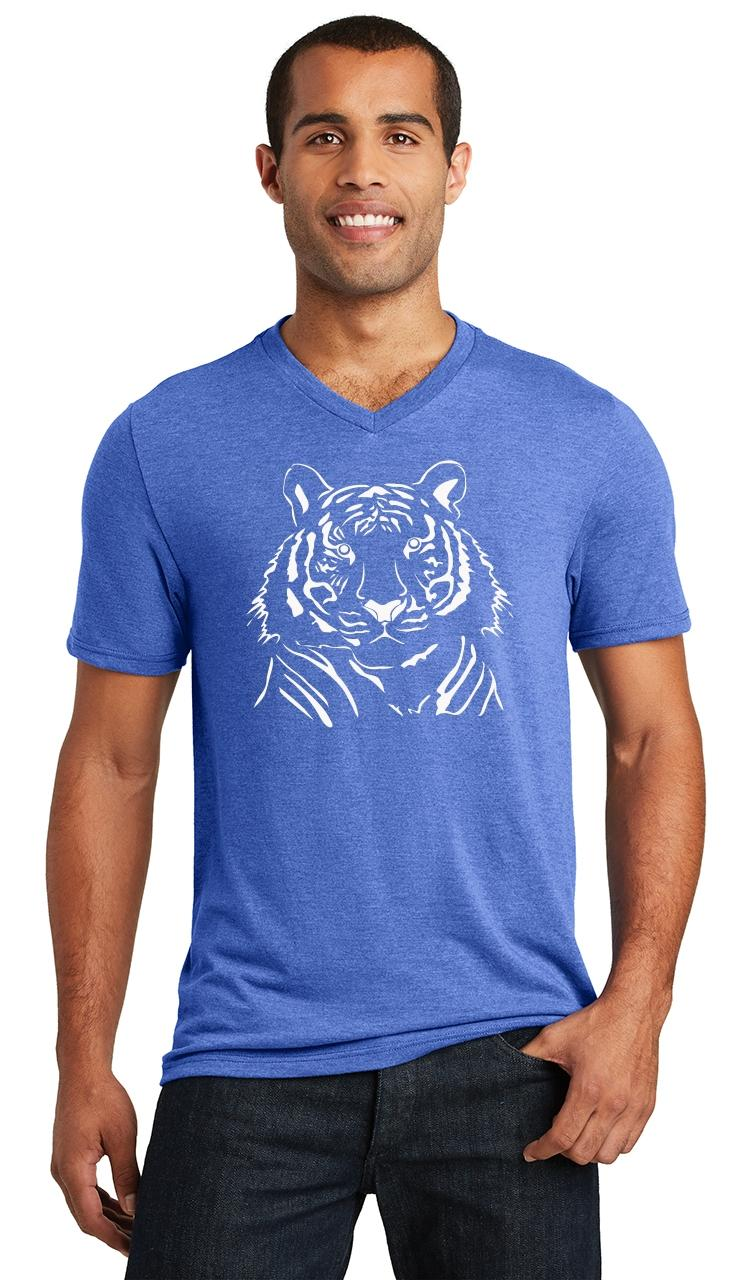 Mens-Tiger-Graphic-Triblend-V-Neck-Animal miniatura 15