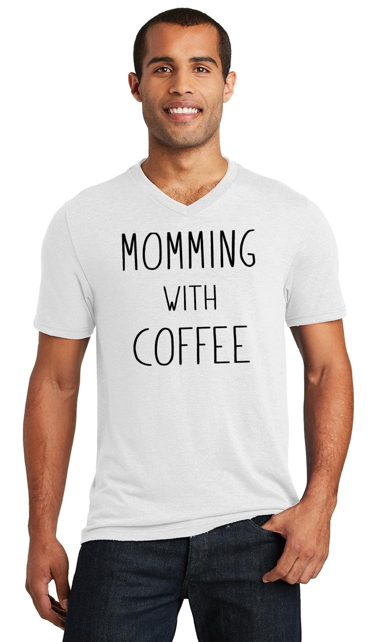 Mens-Momming-With-Coffee-Triblend-V-Neck-Mother-Gift-Shirt miniatura 18
