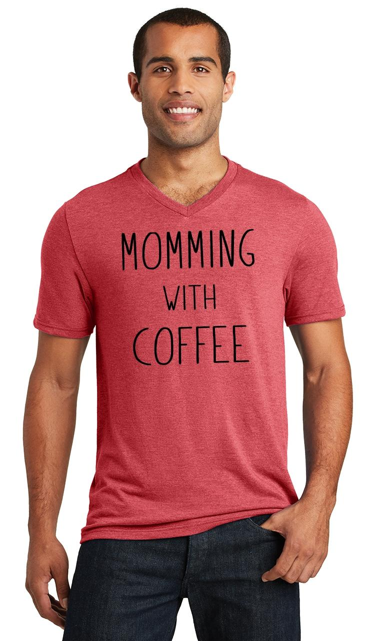Mens-Momming-With-Coffee-Triblend-V-Neck-Mother-Gift-Shirt miniatura 12