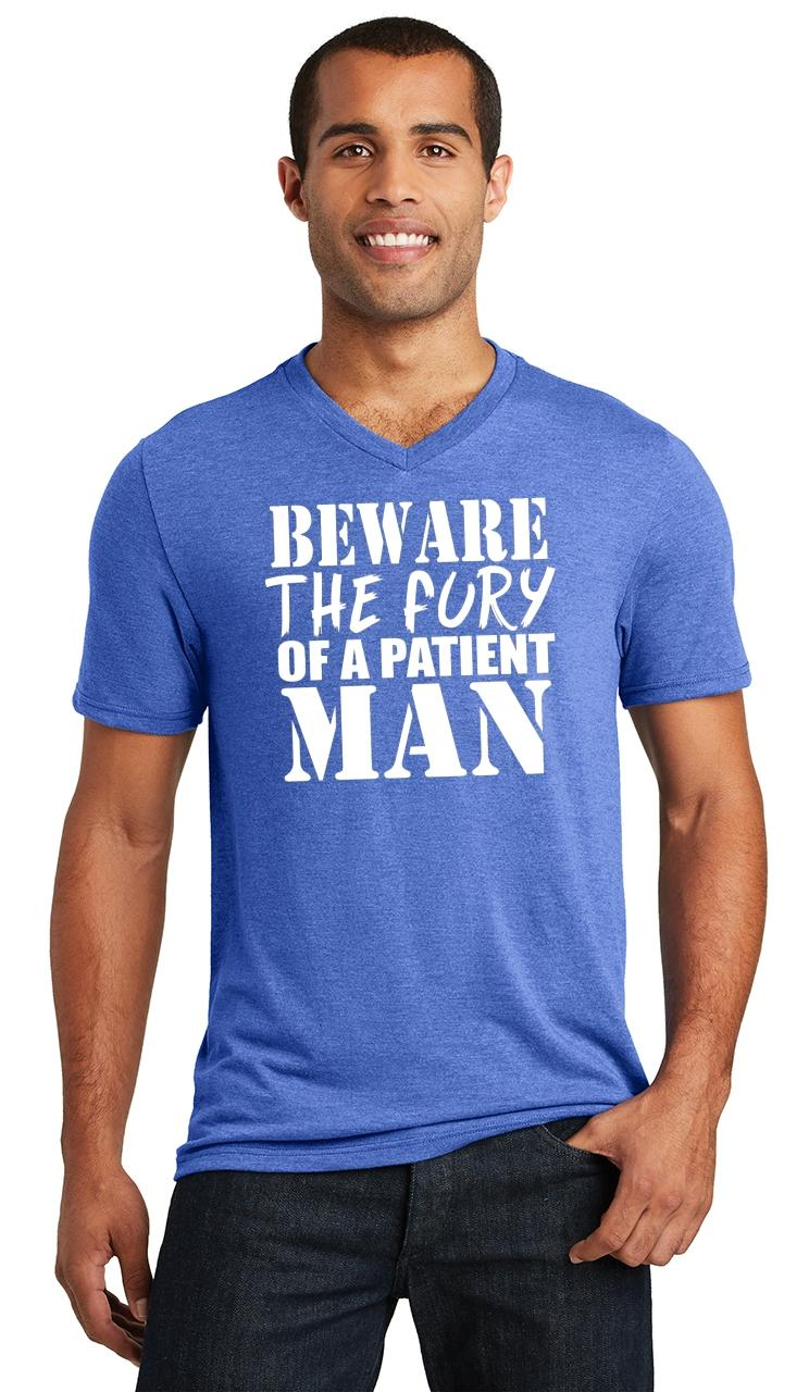 Mens-Beware-Fury-Of-Patient-Man-Triblend-V-Neck-Anger-Quotes miniatura 14